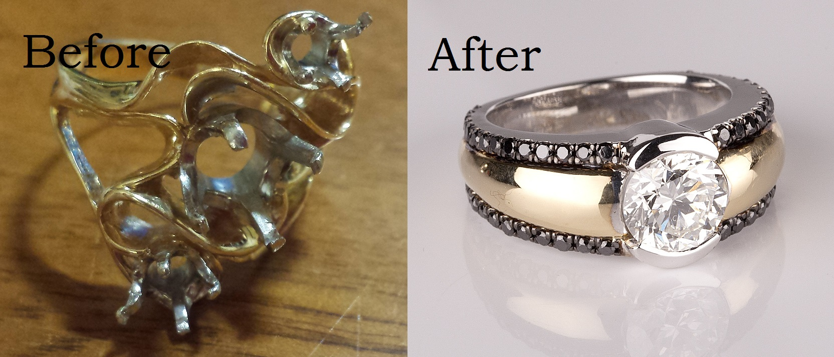 Old ring mounting and newly designed ring