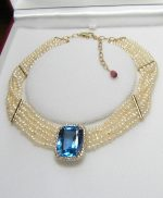 Blue Topaz, Diamonds and Pearls Necklace
