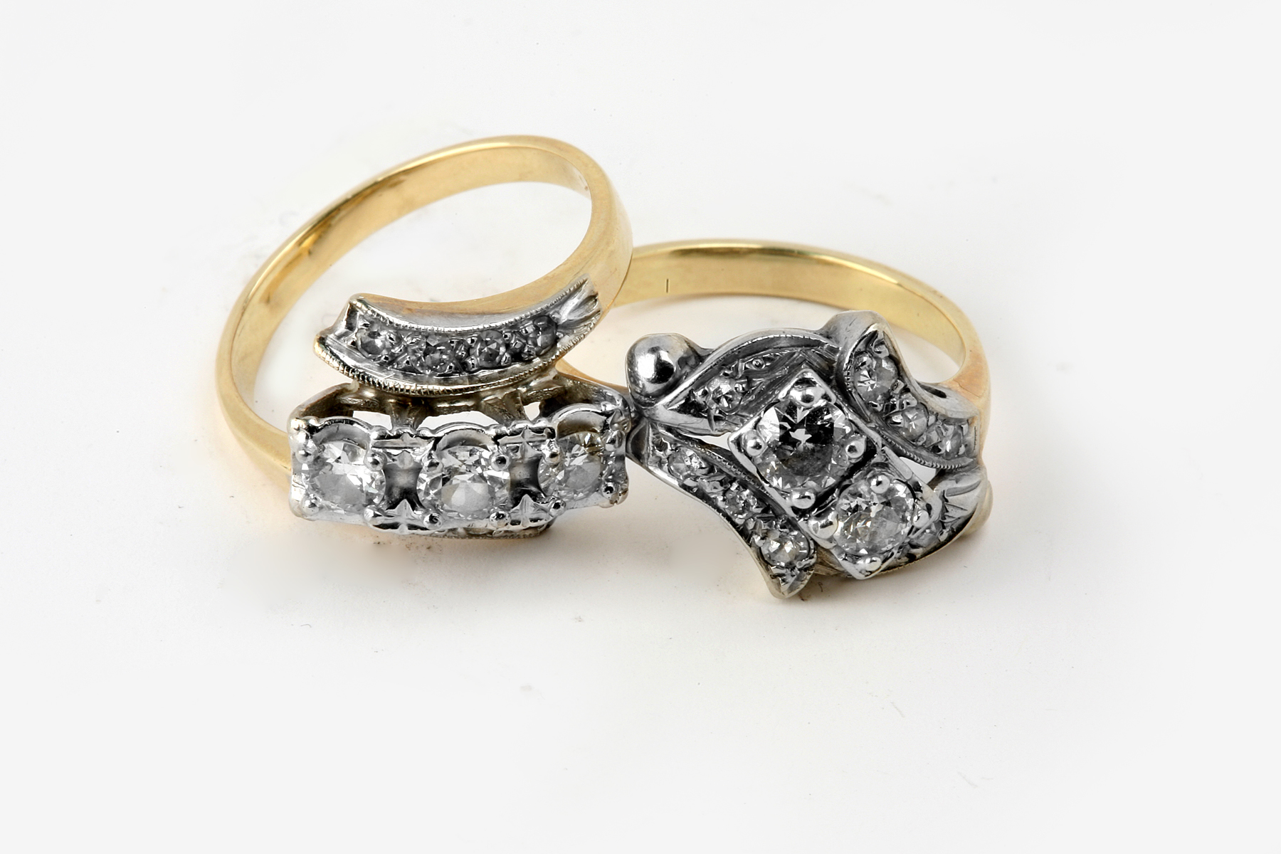 Antique diamonds in two wedding rings