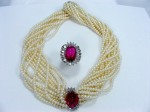 Pearl Multi-Strand Necklace with Pink Tourmaline center piece