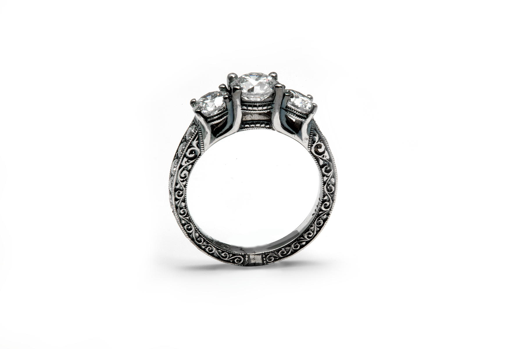 diamond engagement ring with black rhodium and hand engraving capturing your favorite details - Design Your Wedding Ring