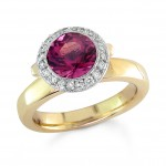 Pink Tourmaline and Diamonds Ring in Yellow Gold