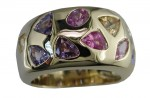 Yellow Gold and Fancy Cut and Color Sapphire Ring