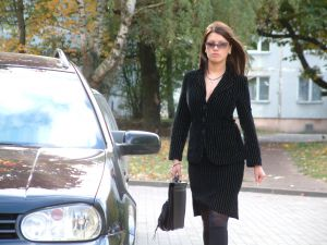 Business woman in black business suit