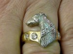 Whippet Dog Ring with Diamonds