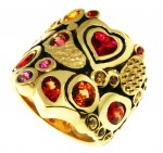 Heart and shapes ring in Yellow Gold with Colored Sapphires