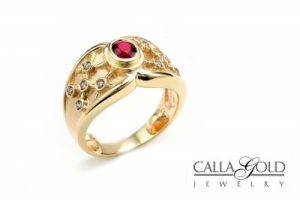 Ruby Ring Etruscan Style, Calla Gold Jewelry
