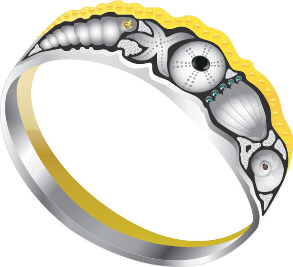 Two Tone Two Ring Wedding Set Dreamed Up for a Woman Who Loves the Sea