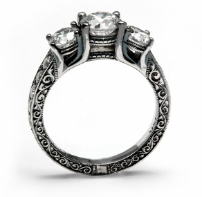 Hand Engraved Engagement Ring With Black Rhodium
