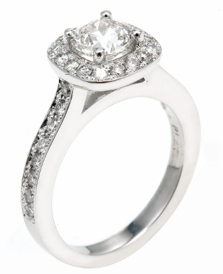 engagement ring with halo of tiny diamonds
