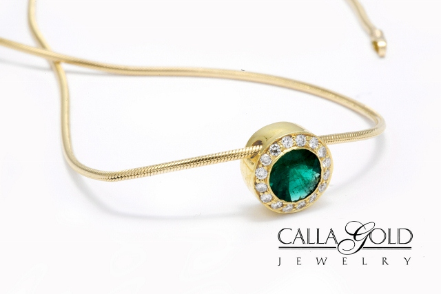 Circular Emerald with Diamond Halo Necklace