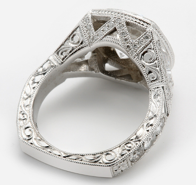 Side View Detail Of Hand Engraved Ring By Calla Gold Jewelry