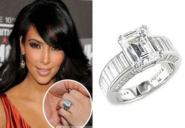 Close up of Kim Kardashian 39s Wedding Ring kimkardashianweddingring1