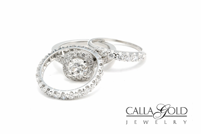 White Gold Eternity bands and Engagement Ring