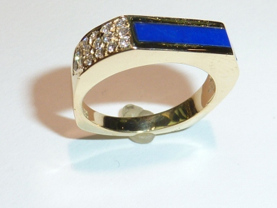 Diamond and Lapis Inlay Ring Repair