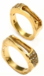 two broken gold rings