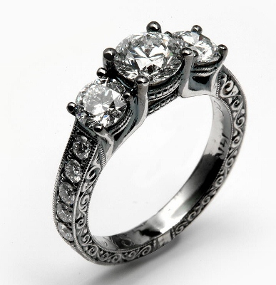 Black Rhodium Finish on Three Diamond Engagement
