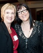 Calla Gold of Calla Gold Jewelry Standing with Lynda Weinman of Lynda.com after Necklace Presentation