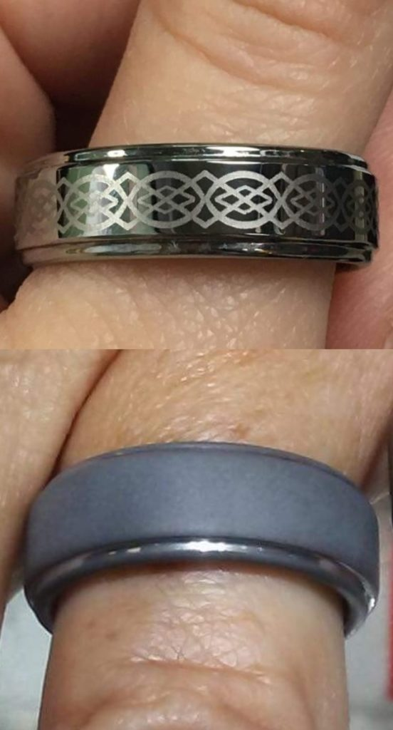 Tungsten wedding band, lost its pattern