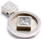 White Gold Princess Cut Diamond Pendant with Milgrain Edging