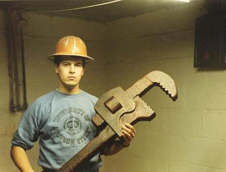 Huge wrench and dude