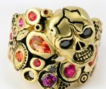 Skull Ring with Colored Sapphires