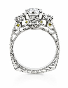Three diamond ring with filigree side view. Look for images like this in Google Images