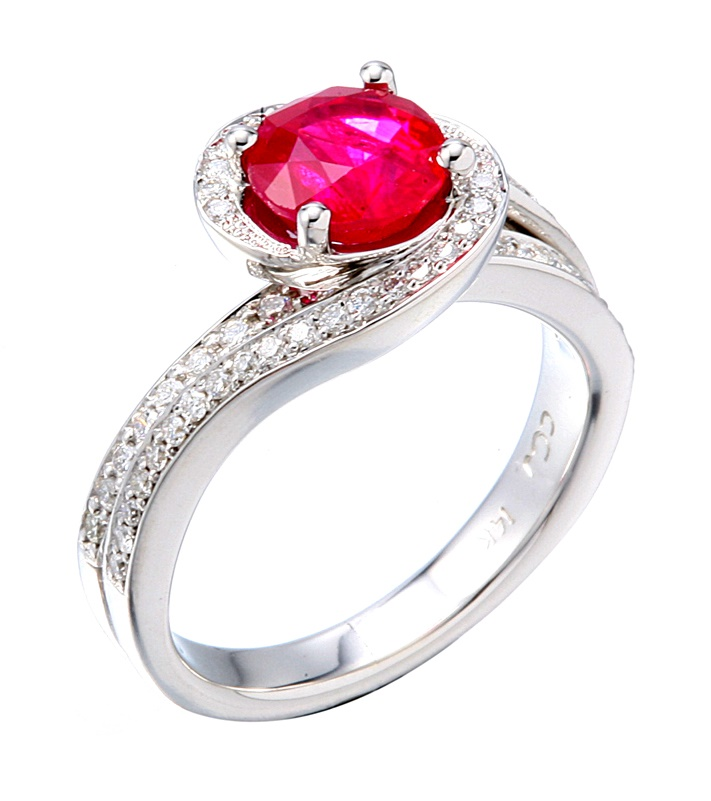 Wedding Jewelry, Engagement ring With Ruby and Diamonds in White Gold