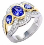 Two Tone Wedding Ring with Sapphires and Diamonds and Bezel Settings