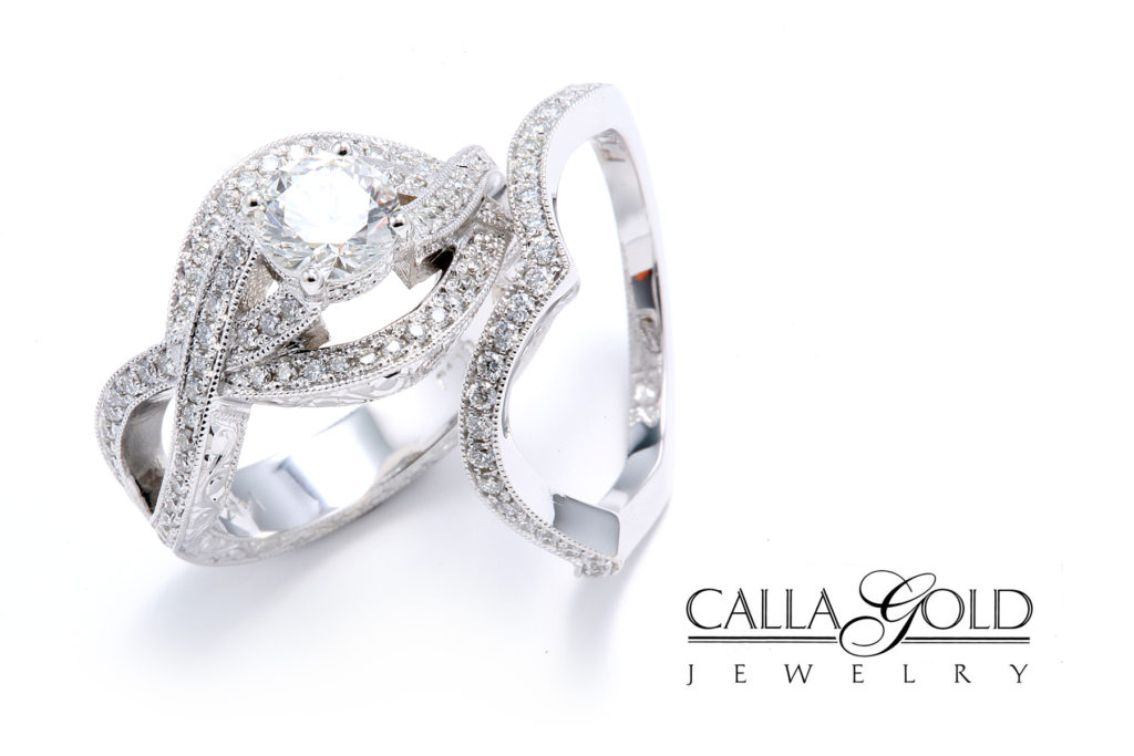 Wedding sets with white gold and diamonds with criss cross design