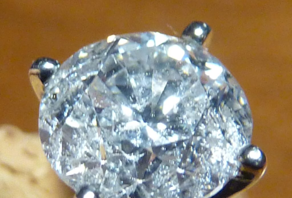 Close up of diamond with older cut