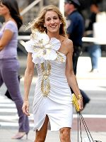 Sarah Jessica Parker in huge flower dress; Personal Style