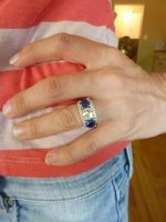 Three Ring Wedding Set in White Gold with Blue Sapphires and Diamonds