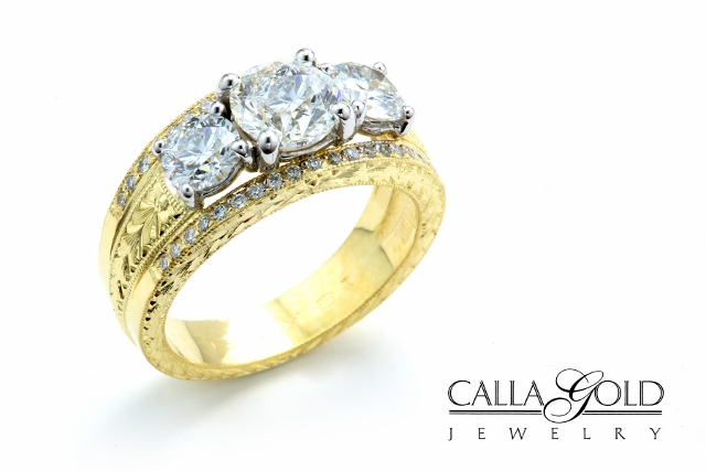 Yellow Gold Three Diamond Ring with Hand Engraving in Yellow Gold