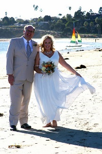 Deana and Robert Right After the Ceremony. Married on the Beach!