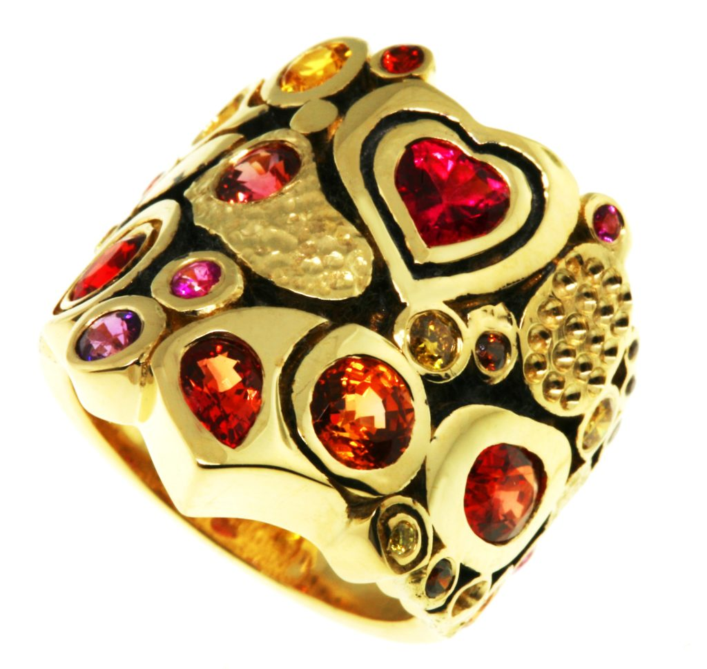 Multi Textured Multi-colored sapphires Ring in yellow gold by Calla Gold