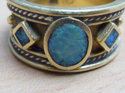 Etruscan Three Opal Inlay Wedding Ring by Calla Gold Jewelry