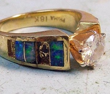 Opal Inlay Ring with Damage Before Repair