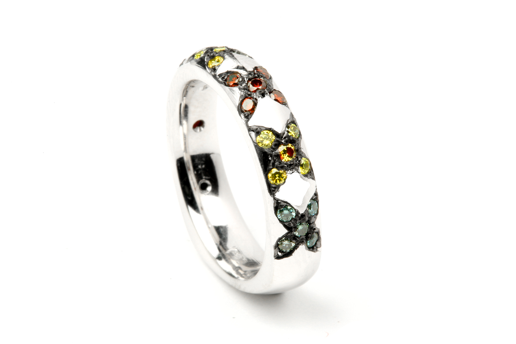 White Gold With Colored Diamond Wedding Band