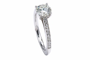 White Gold Round Brilliant Diamond Engagement Ring - Calla Gold Jewelry