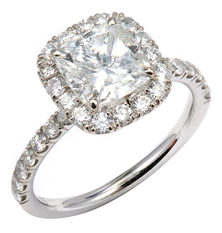 Cushion Cut Diamond in a Halo Setting