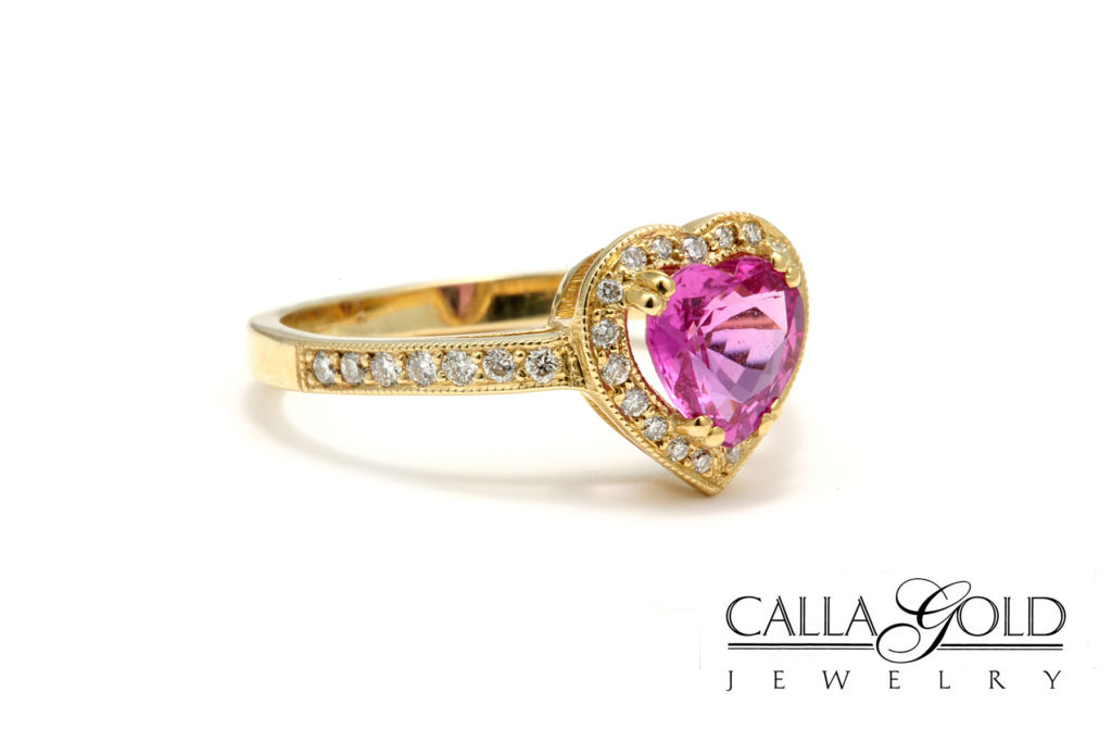 Calla Gold Jewelry pink sapphire heart gem engagement ring