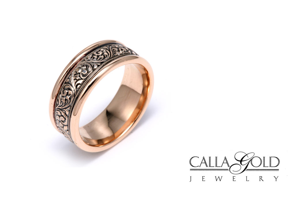 Rose gold band with rosemaling hand engraving and Black Rhodium
