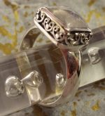 Ring #5 - Sterling Silver Ring with Pretty Moonstone Set in a Decorative Bezel Box Setting
