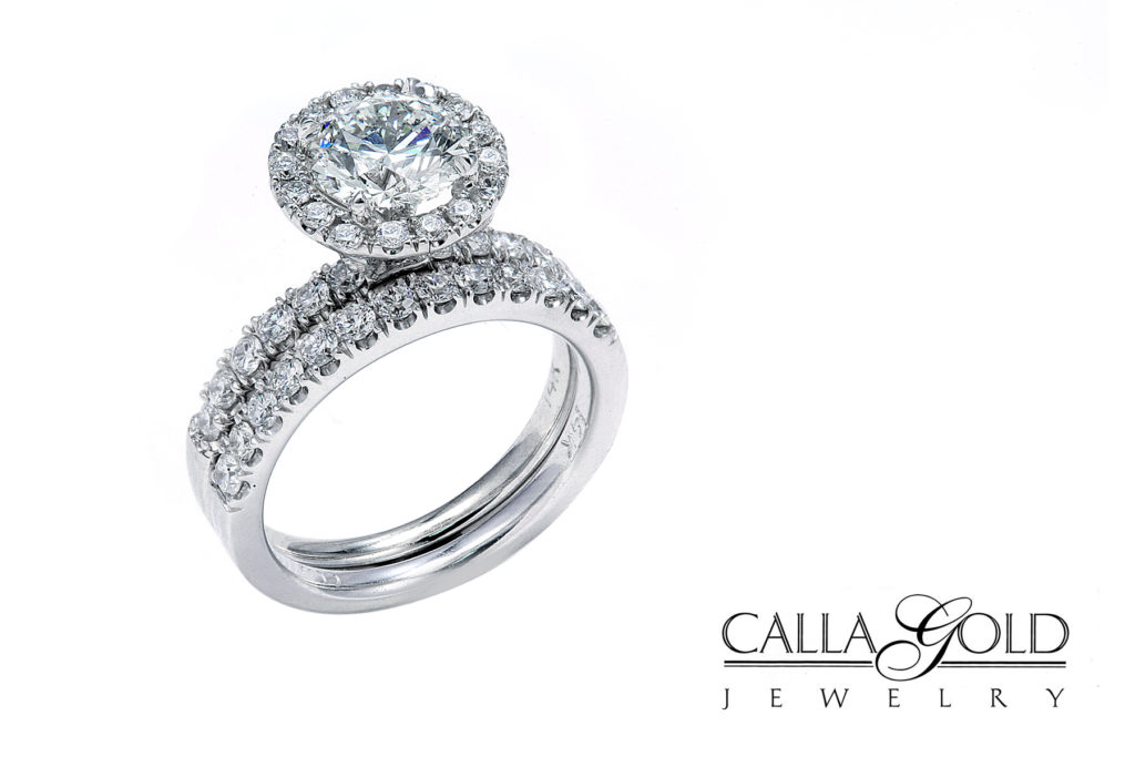 two ring wedding set with 1 ct diamond and halo of diamonds and diamond band - Engagement Ring And Wedding Ring