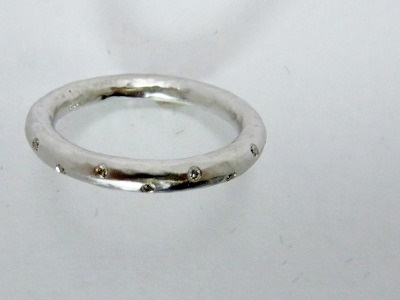 Platinum and burnish set tiny white diamonds thin wedding band - Calla Gold Jewelry
