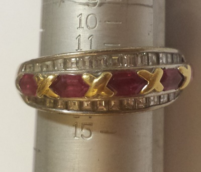 Ruby and diamond baguette white and yellow gold ring - cost to size ring