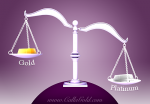 Scales of Balance showing Platinum heavier than gold Calla Gold Jewelry. White gold vs platinum blog post.