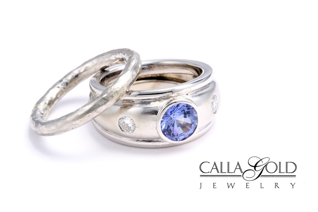Platinum Wedding Set with Bezel Set Blue Sapphire and Tiny Diamonds - Calla Gold Jewelry