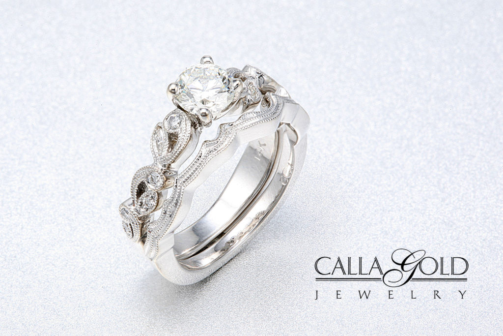 calla gold jewelry wedding set with floral design and diamonds wedding rings vs engagement rings - Engagement Rings With Wedding Band